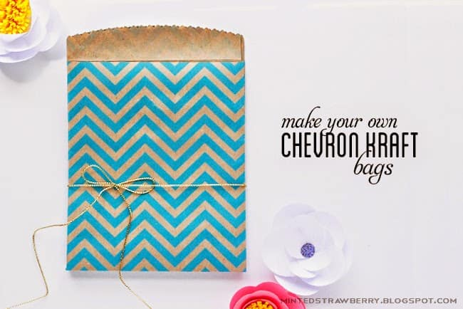 Paper bag made from blue chevron paper