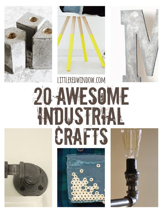 20 Awesome Industrial Crafts using hardware, metal, concrete and wood! | littleredwindow.com