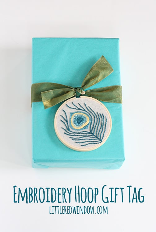 Peacock Feather Embroidery Hoop Gift Tag | littleredwindow.com