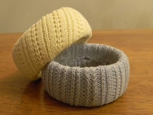 Bracelets made from an old knit sweater