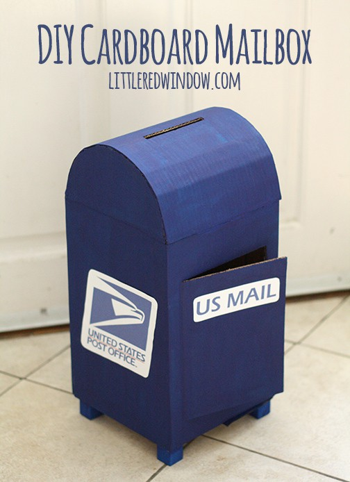 Make this cute DIY Cardboard Mailbox for you kids to play with out of materials you already have at home!