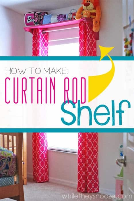 Graphic showing a curtain rod that has a pink shelf on top of it