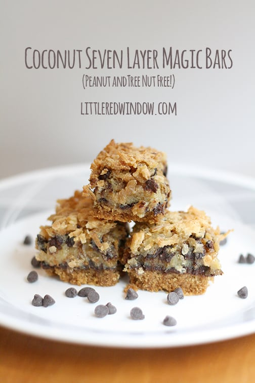 7 Layer Magic Bars without Nuts! | Peanut and Tree Nut Free! | littleredwindow.com