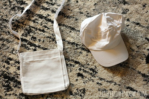 Blank white canvas cap and cross body bag
