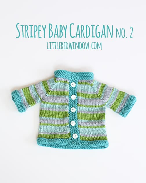 Blue and green striped baby cardigan