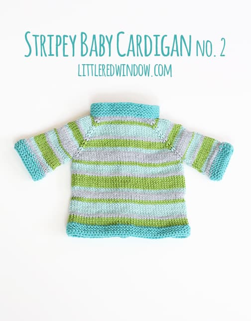 Back of Blue and green striped baby cardigan
