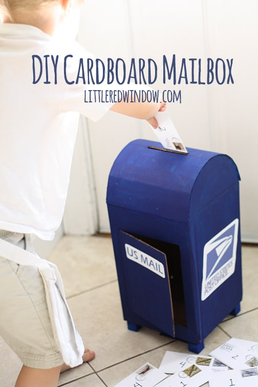 DIY Cardboard Play Mailbox | littleredwindow.com