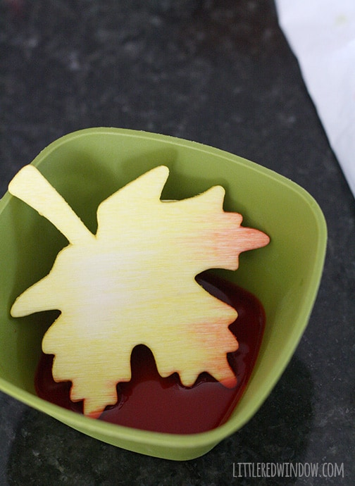 wood leaf shape with tips dyed orange