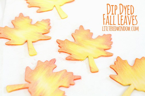 Diy dyed wood leaf shapes, yellow with orange tips