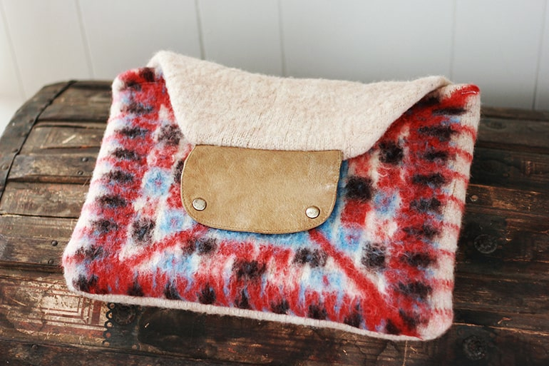 Envelope clutch purse made from red, blue and cream felted wool sweater
