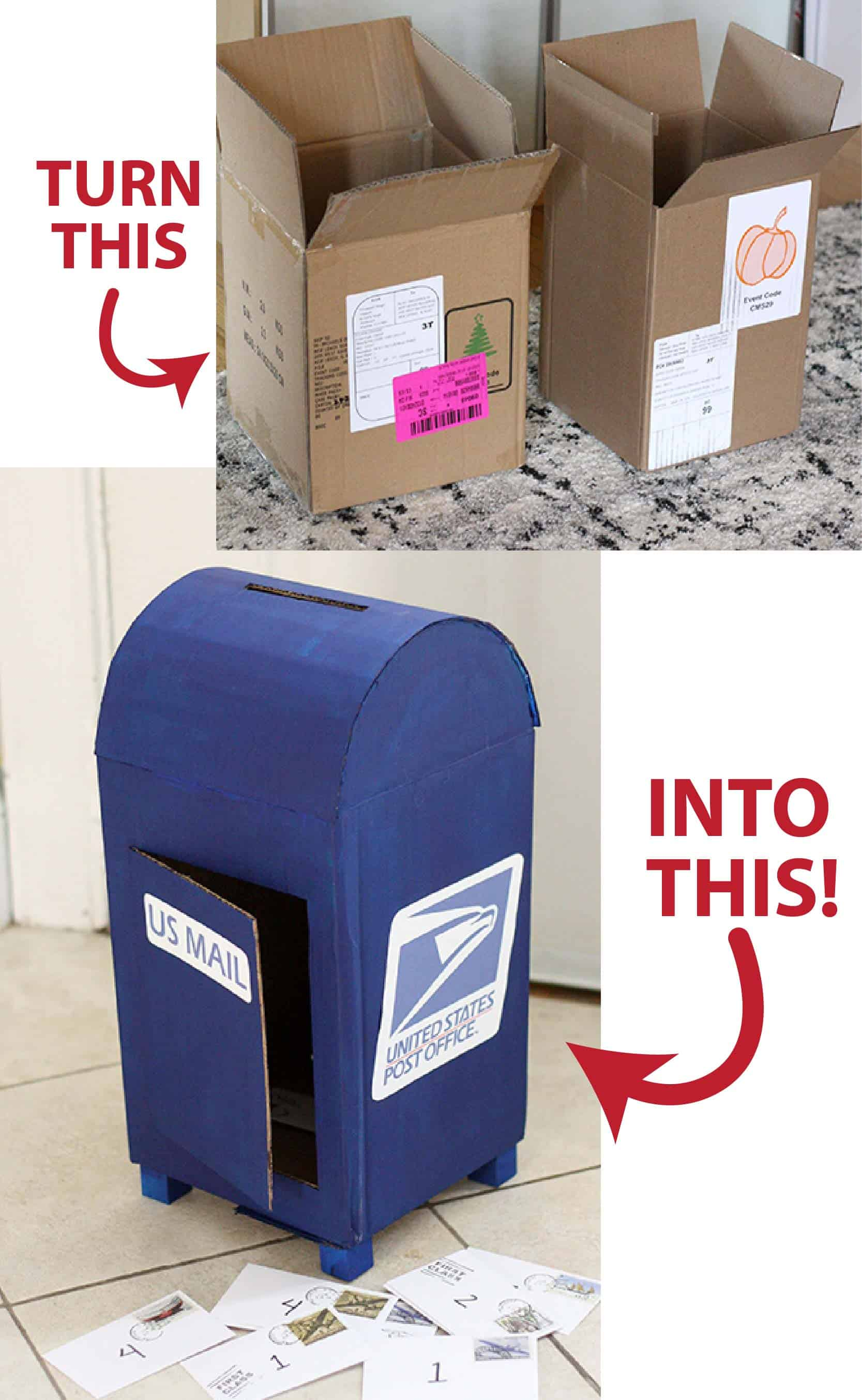 Upcycle an old cardboard box into a fun play mailbox with this great tutorial!