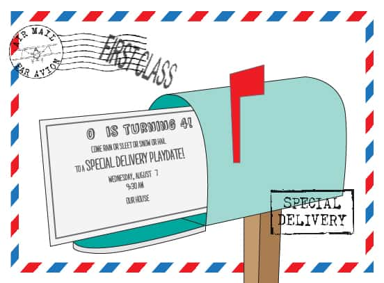 Invitation for a Post Office themed birthday party