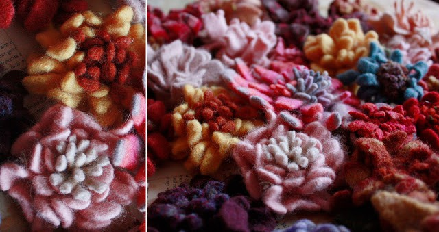 Colorful flowers made from felted wood pieces