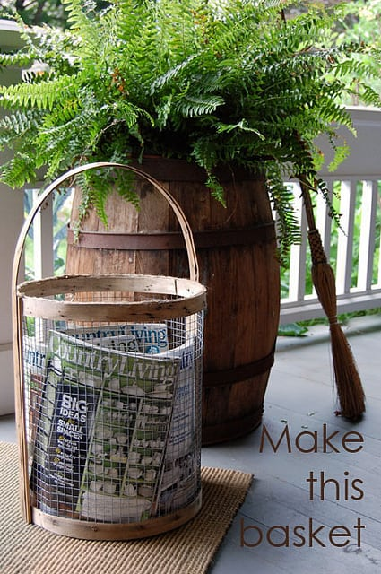 magazine basket made from thin wood strips and chicken wire