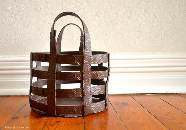 basket made of straps of brown leather