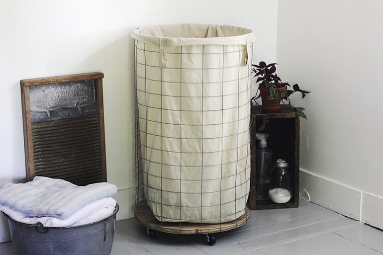 tall wire hamper with canvas fabric lining