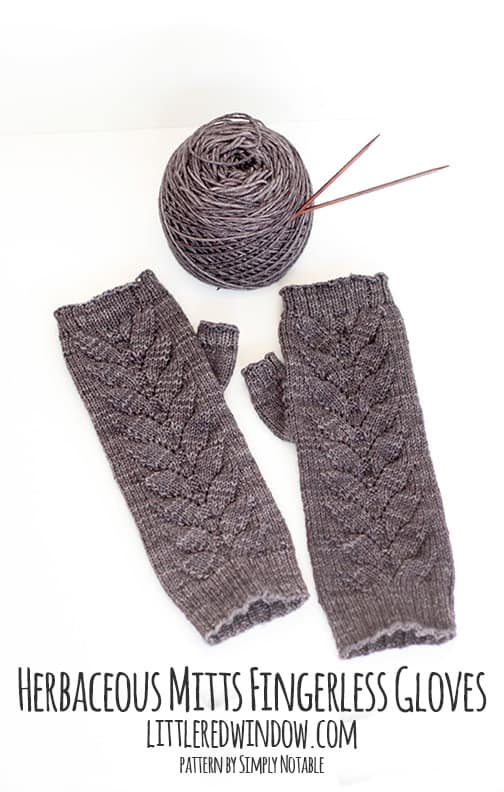 Herbaceous Mitts Fingerless Gloves next to a ball of yarn