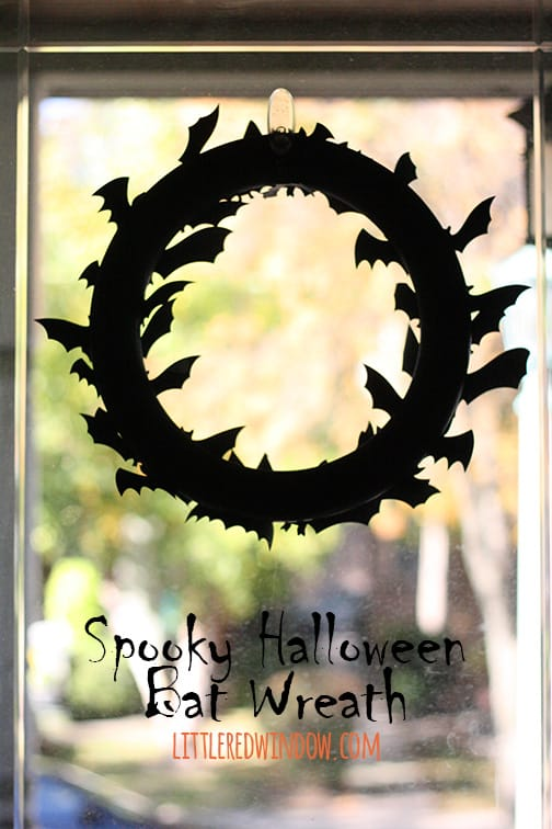 Make a Spooky Halloween Bat Wreath with just a few supplies! | littleredwindow.com