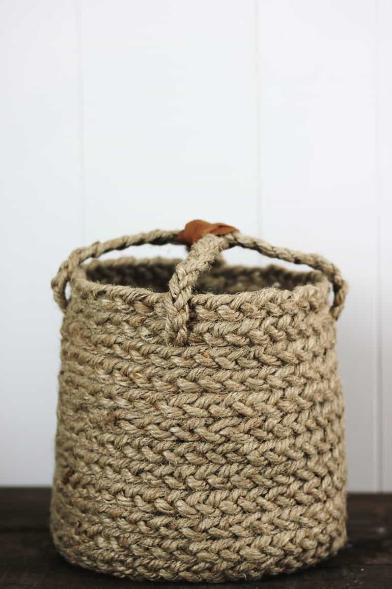 braided rope basket with handles