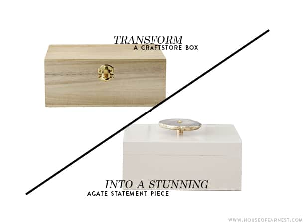 graphic showing transformation of plain wood bow to fancy jewelry bos with agate knob