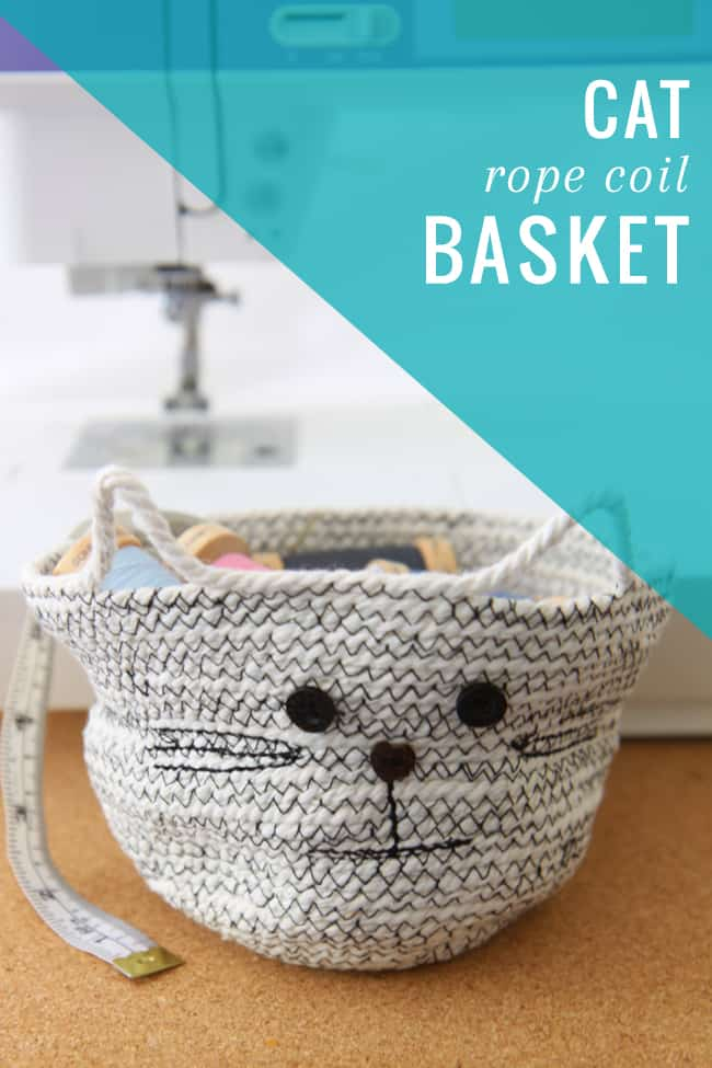 rope basket with a cat face on it
