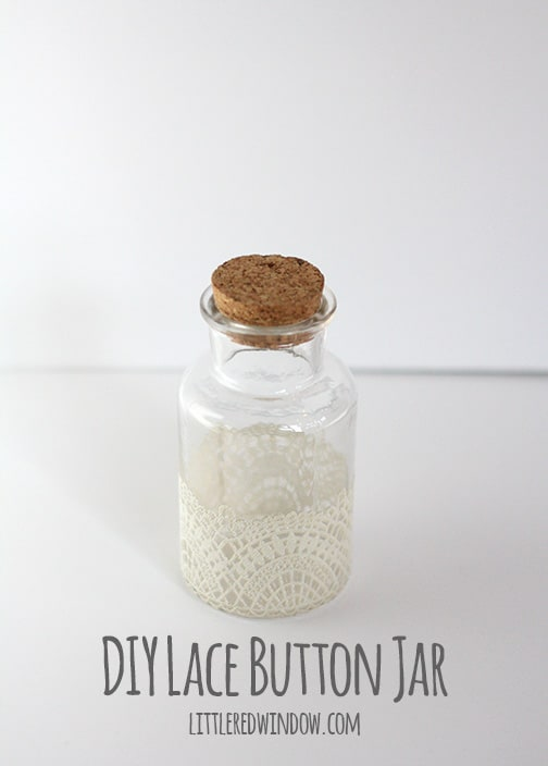 DIY Lace Button Jar, cute storage for all your extra buttons! | littleredwindow.com