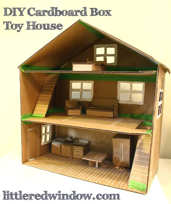 Diy cardboard box toy house little red window for Building on to my house