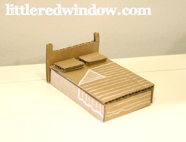 closeup of Cardboard bed on white background