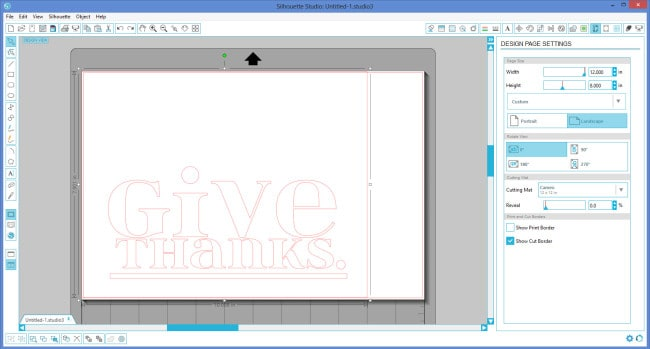 Screenshot of silhouette studio softward and a design that says Give Thanks