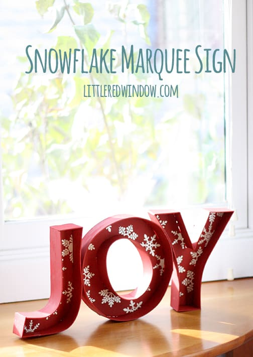 Snowflake Marquee Sign | littleredwindow.com | You'll love this tutorial for a unique (and cheaper) twist on popular DIY marquee signs!