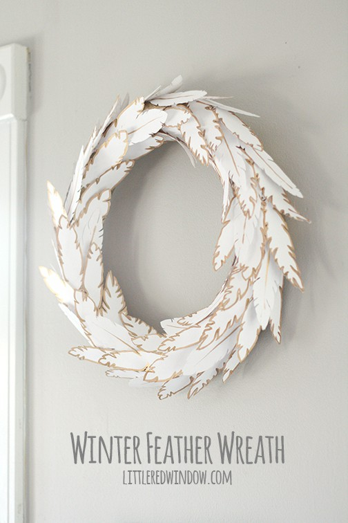 Wintry Paper Feather Wreath | littleredwindow.com
