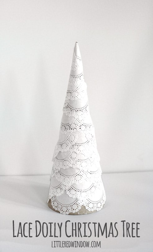 Make this sweet Lace Doily Christmas Tree in just a few minutes,perfect for your farmhouse Christmas!