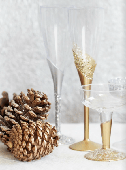 Champagne glasses with metallic and glitter stems