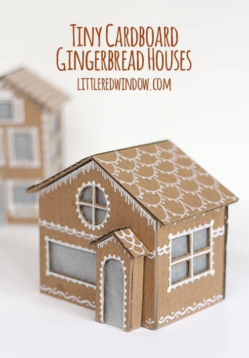 Tiny cardboard gingerbread houses little red window for How to make a house from cardboard box