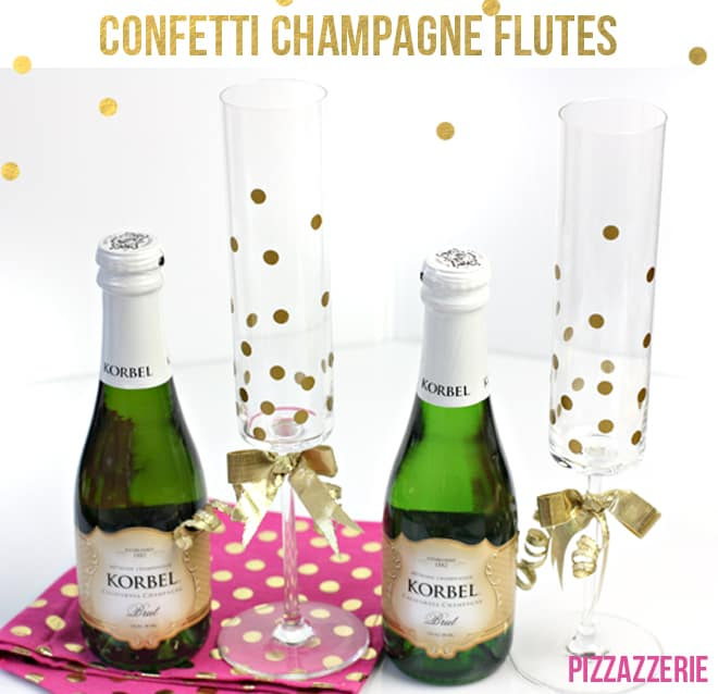 chanpagne flutes with gold polka dots on them