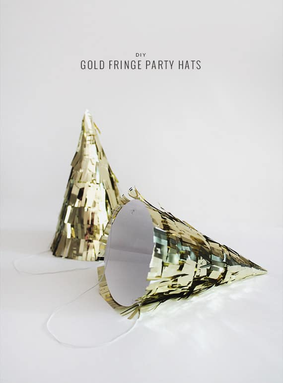 gold fringe party hats