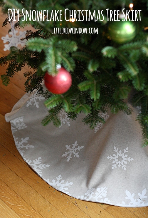 DIY Snowflake Christmas Tree Skirt | littleredwindow.com | Learn how to stencil with freezer paper and make this cute tree skirt for just a few dollars!