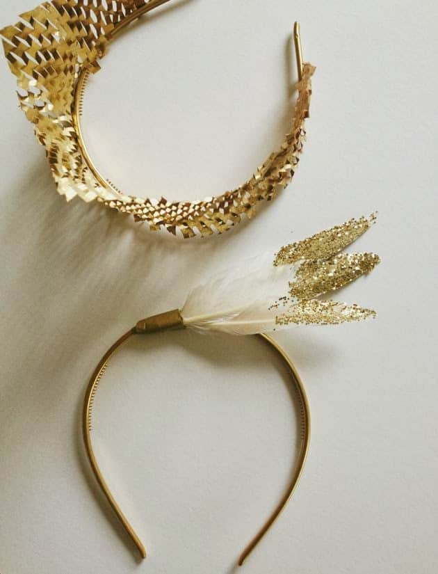 heandband with feathers dipped in gold glitter