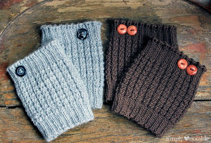 two pairs of knit sock cuffs with buttons
