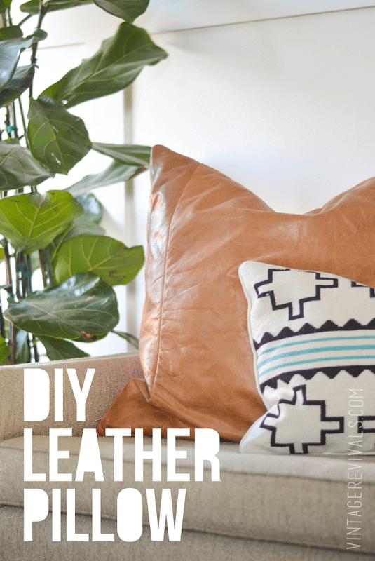DIY Leather Pillow Tutorial vintagerevivals[4]