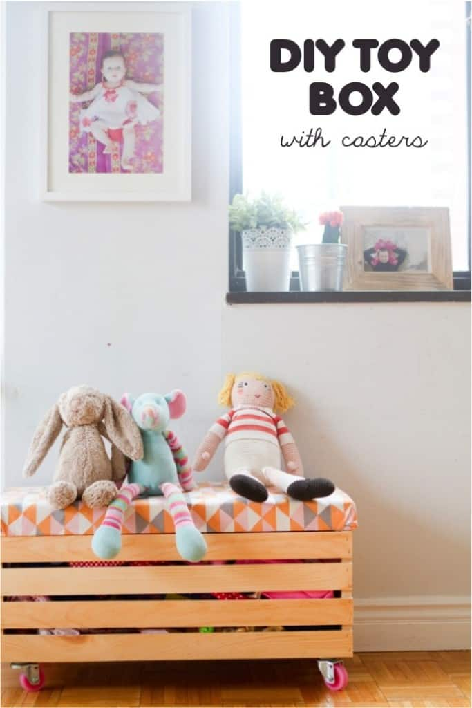 Wood slat toy box with upholstered top