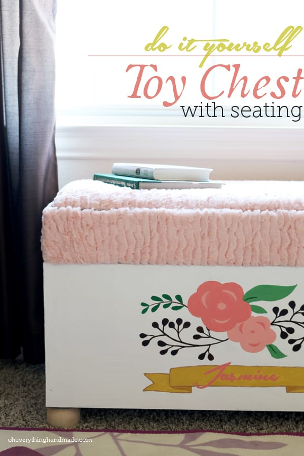 White toy chest with floral design and soft fabric top to use as a bench