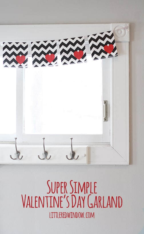 Super Simple Valentine's Day Garland | littleredwindow.com | You won't believe what I used to make this garland!