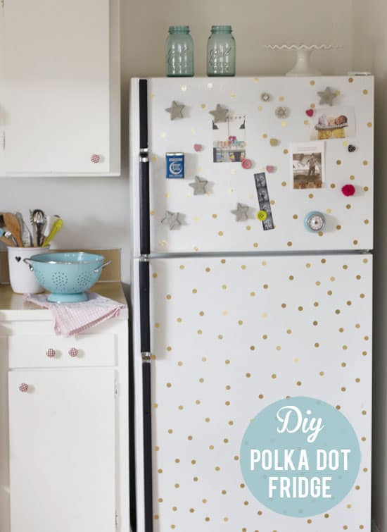 White fridge with gold polka dots