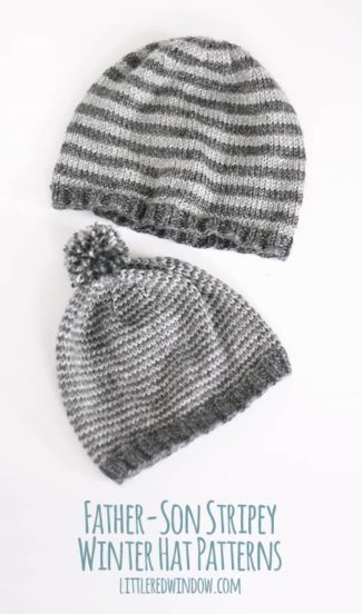 Father / Son Stripey Winter Hat Knitting Patterns