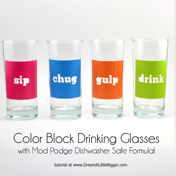 3 drinking glasses with painted outside that say SIP, CHUG, GULP and DRINK