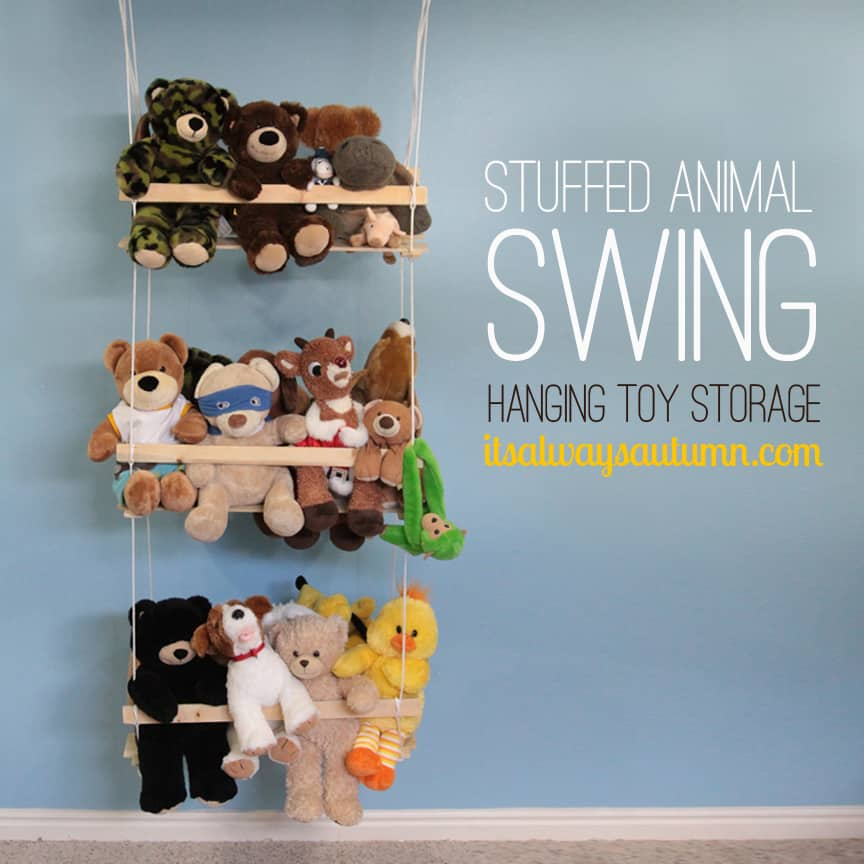 Three level hanging wall shelf holding lots of teddy bears