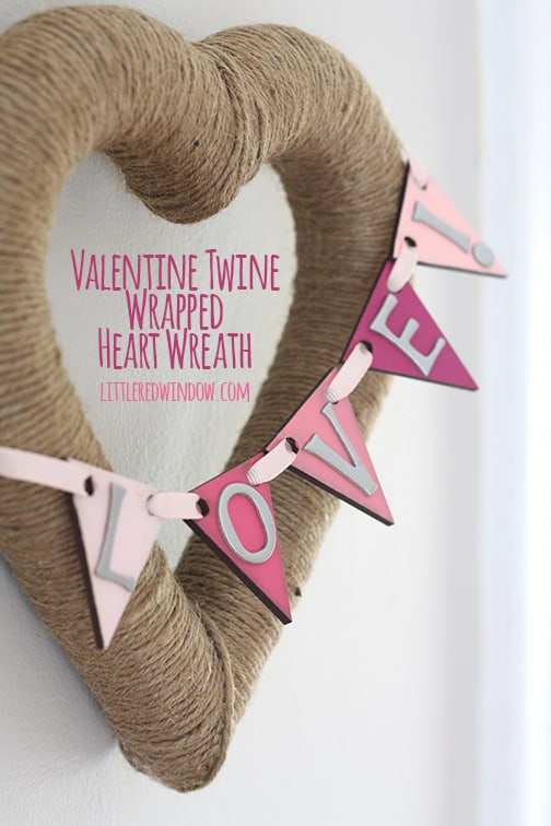 Valentine Twine Wrapped Heart Wreath | littleredwindow.com