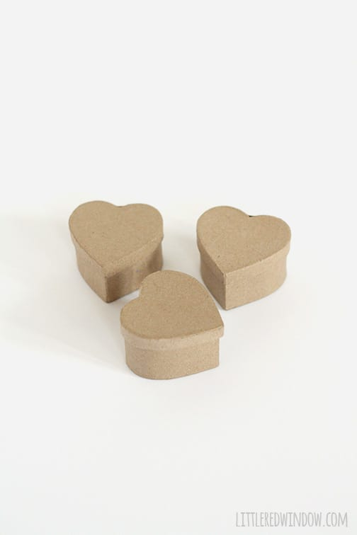 3 heart shaped paper mache boxes with lids