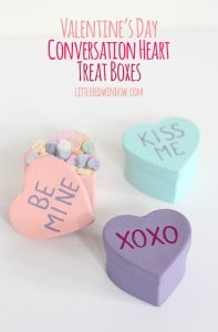 Valentine's Day Conversation Heart Treat Boxes | littleredwindow.com | These cute little candy shaped treat boxes are so easy to make!